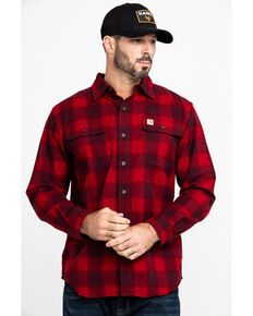 Carhartt Men's Red Hubbard Flannel Long Sleeve Work Shirt, Dark Red, hi-res