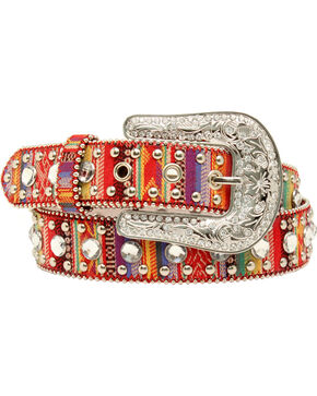 Blazin Roxx Women's Fabric Rhinestone Belt, Multi, hi-res