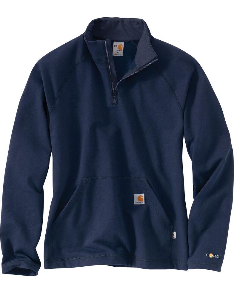 Carhartt Men's Flame Resistant Force Quarter-Zip Fleece Pullover - Big & Tall, Navy, hi-res