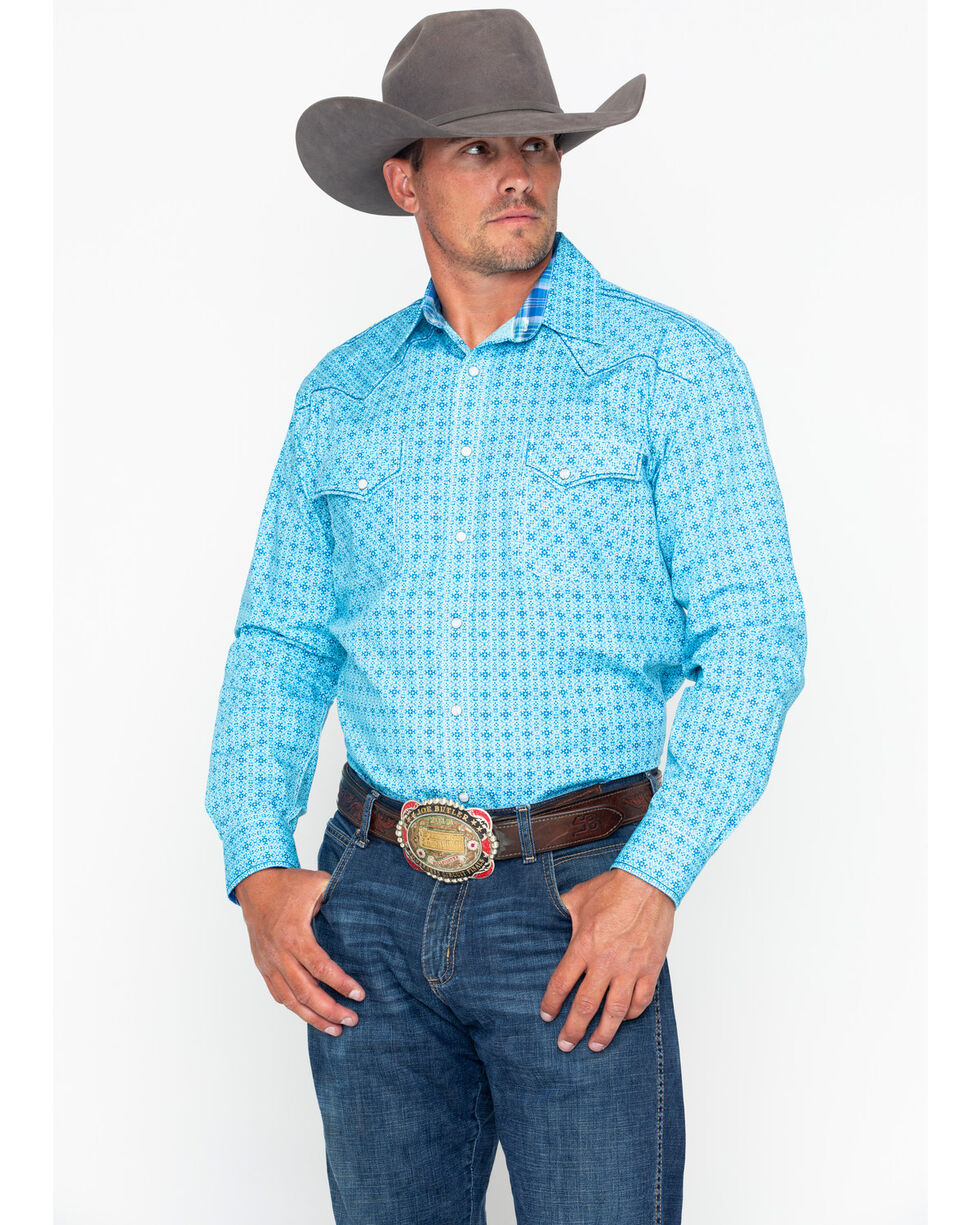 Panhandle Men's Rough Stock Narodini Antique Long Sleeve Western Shirt , Blue, hi-res