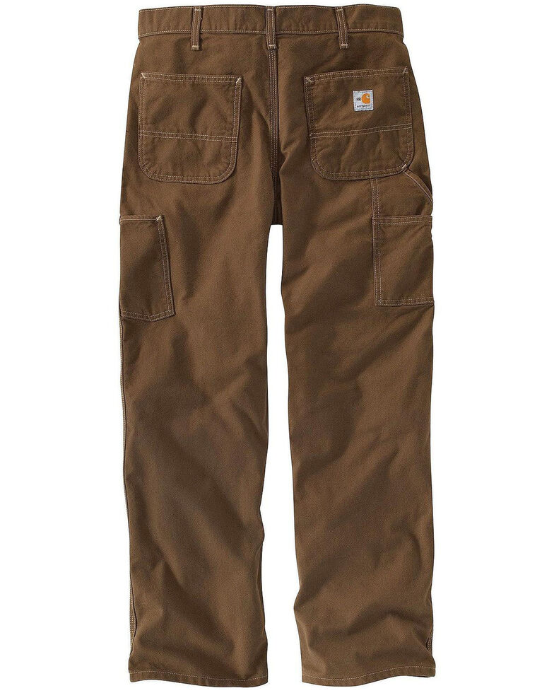 Carhartt Men's FR Brown Washed Duck Dungaree Work Pants - Big , Medium Brown, hi-res