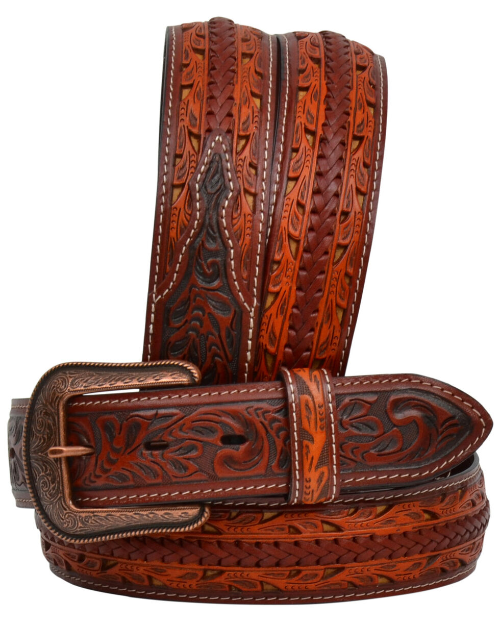 3D Men's Braided And Tooled Leather Belt, , hi-res