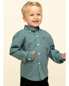 Cinch Toddler Boys' Green Geo Print Button Long Sleeve Western Shirt , Green, hi-res