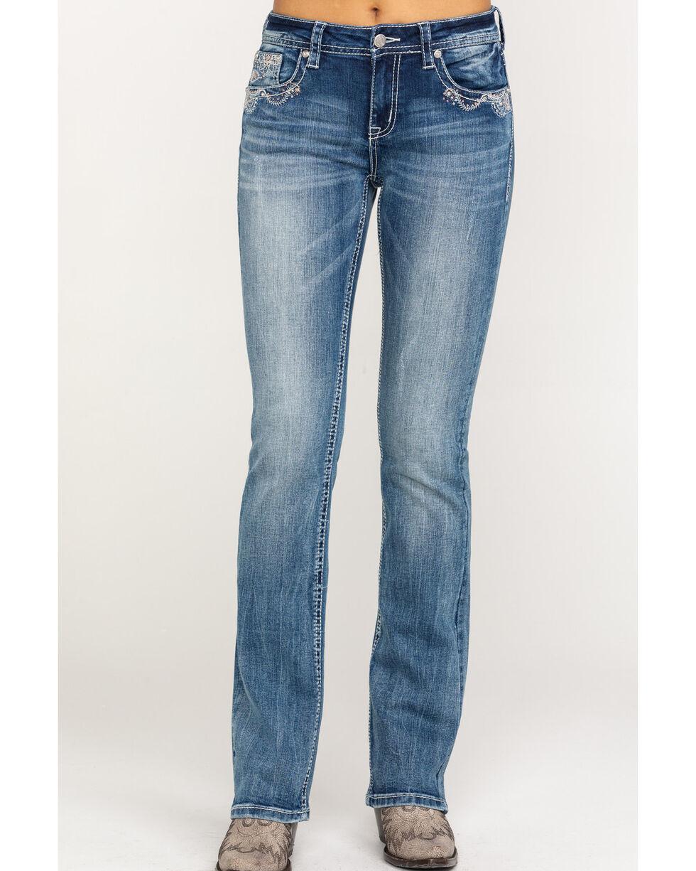 Grace in LA Women's Medium Wash Paisley Bootcut Jeans, Blue, hi-res
