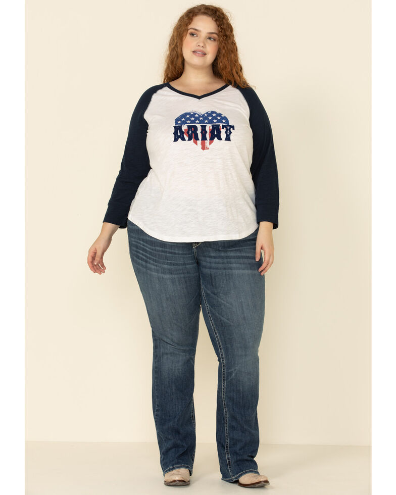 Ariat Women's American Love Tee - Plus, White, hi-res