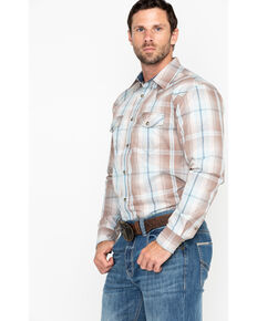 Cody James Men's Sand Point Ombre Plaid Long Sleeve Western Shirt - Big , Brown, hi-res