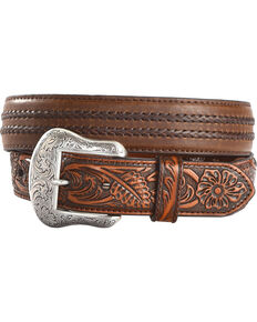 Cody James Men's Filigree Overlay Leather Belt, Brown, hi-res