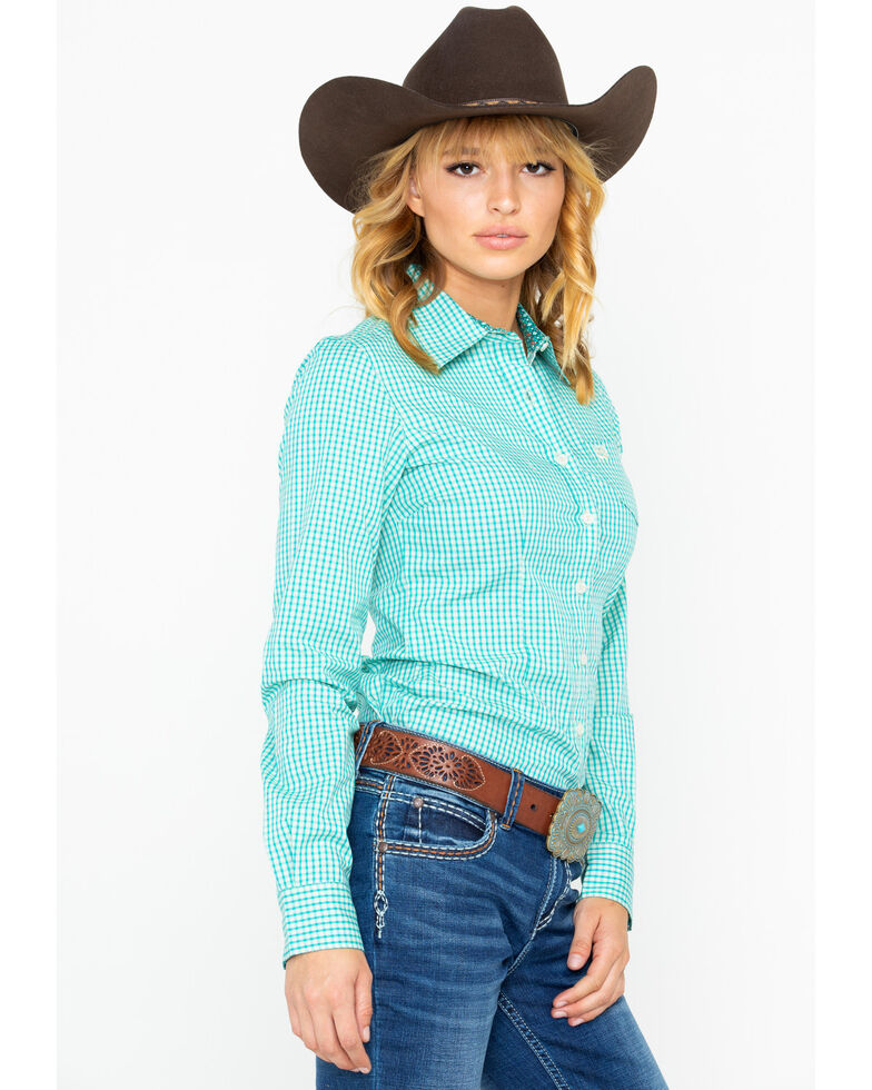 ec0a1f72 Zoomed Image Cinch Women's Gingham Plaid Button Long Sleeve Western Shirt ,  Turquoise, hi-res