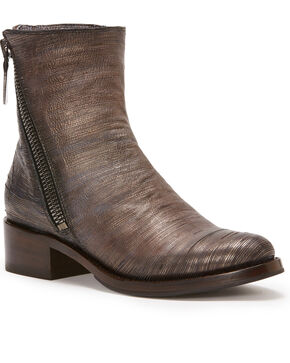 Frye Women's Pewter Demi Zip Booties - Round Toe , Silver, hi-res