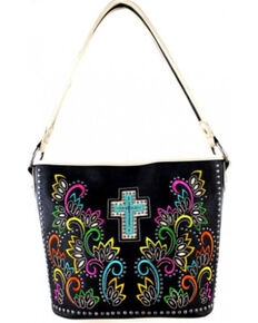 Montana West Cut Out Patten with Embroidery Spiritual Collection Handbag, Khaki, hi-res