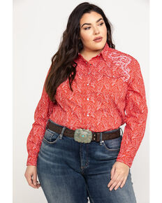 1207b5ed Rough Stock by Panhandle Women's Concho Vintage Print Long Sleeve Top - Plus