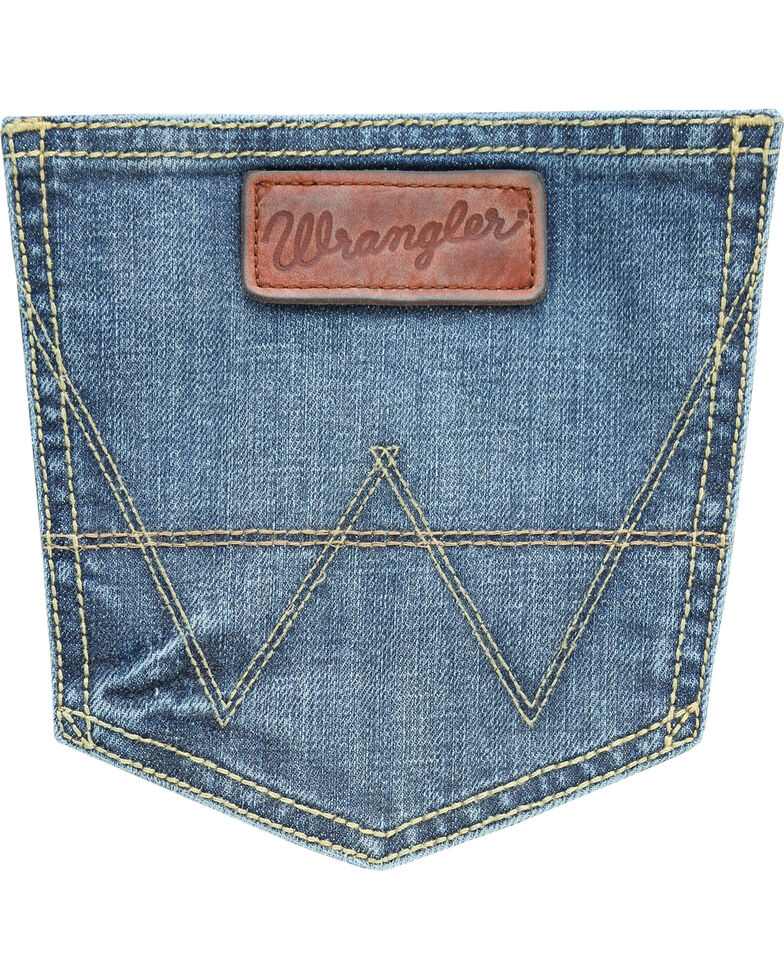 Wrangler Men's Blue Retro Slim Fit Stretch Bootcut Jeans - Long , Blue, hi-res