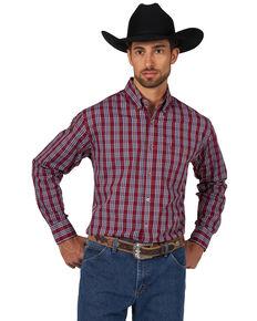Wrangler Men's Classic Check Plaid Long Sleeve Western Shirt , Burgundy, hi-res