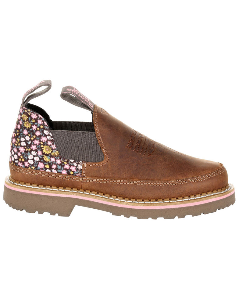 Georgia Boot Women's Giant Floral Romeo Shoes - Round Toe, Brown, hi-res
