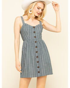 Shyanne Women's Slate Button Front Dress , Slate, hi-res