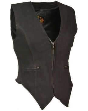 Milwaukee Leather Women's Side Stretch Zipper Front Denim Vest, Black, hi-res