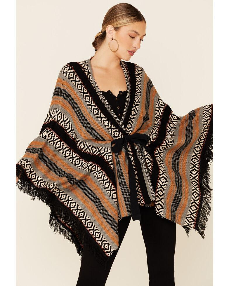 Rock & Roll Denim Women's Multi Serape Sweater Knit Fringe Poncho , Rust Copper, hi-res