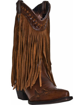 Dingo Women's Heart Throb Fringe Fashion Boots, Dark Brown, hi-res