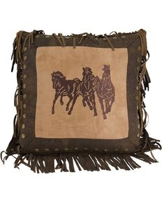 HiEnd Accents Three Horses Fringe Pillow, Multi, hi-res