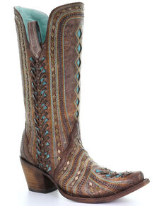 Corral Women's Cognac Inlay Embroidered Western Leather Boots - Snip Toe , Black, hi-res