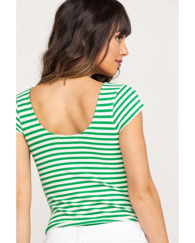 Coco + Jaimeson Women's Green Stripe Bodysuit, Green, hi-res