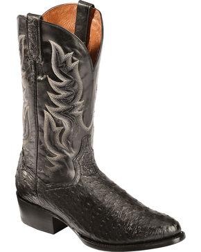 Dan Post Black Quilled Ostrich Cowboy Boots - Round Toe, Black, hi-res