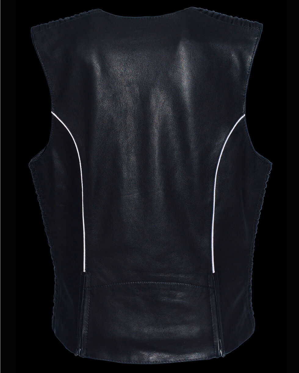 Milwaukee Leather Women's Lightweight Crinkle Snap Front Vest - 4X, , hi-res