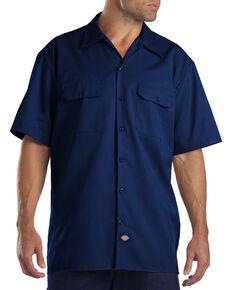 Dickies Men's Short Sleeve Work Shirt - Big, Navy, hi-res