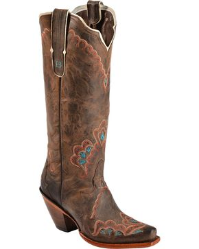 Tony Lama Women's Black Label Western Boots, Chocolate, hi-res