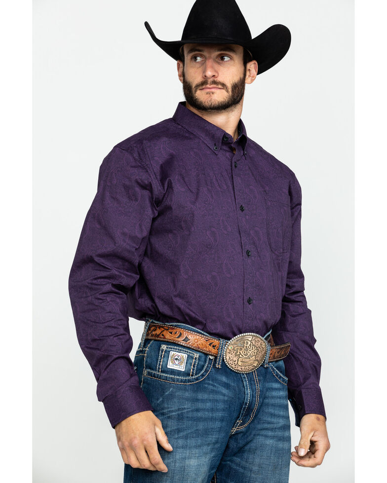Cody James Core Men's Artemis Paisley Print Long Sleeve Western Shirt , Purple, hi-res