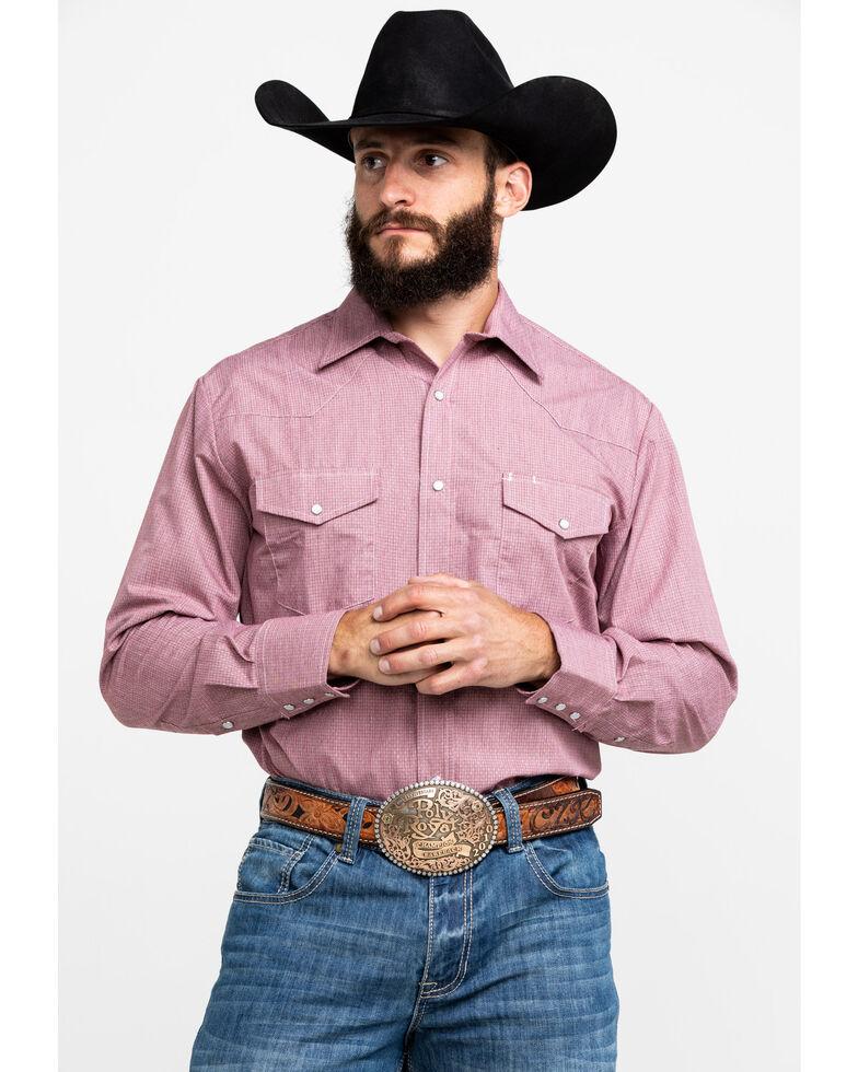 Roper Men's Wine Solid Long Sleeve Western Shirt , Wine, hi-res