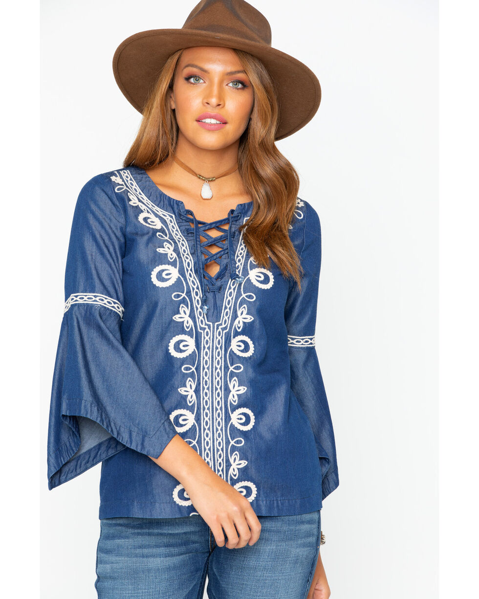 Shyanne Women's Embroidered Lace Up Bell Sleeve Top , Blue, hi-res