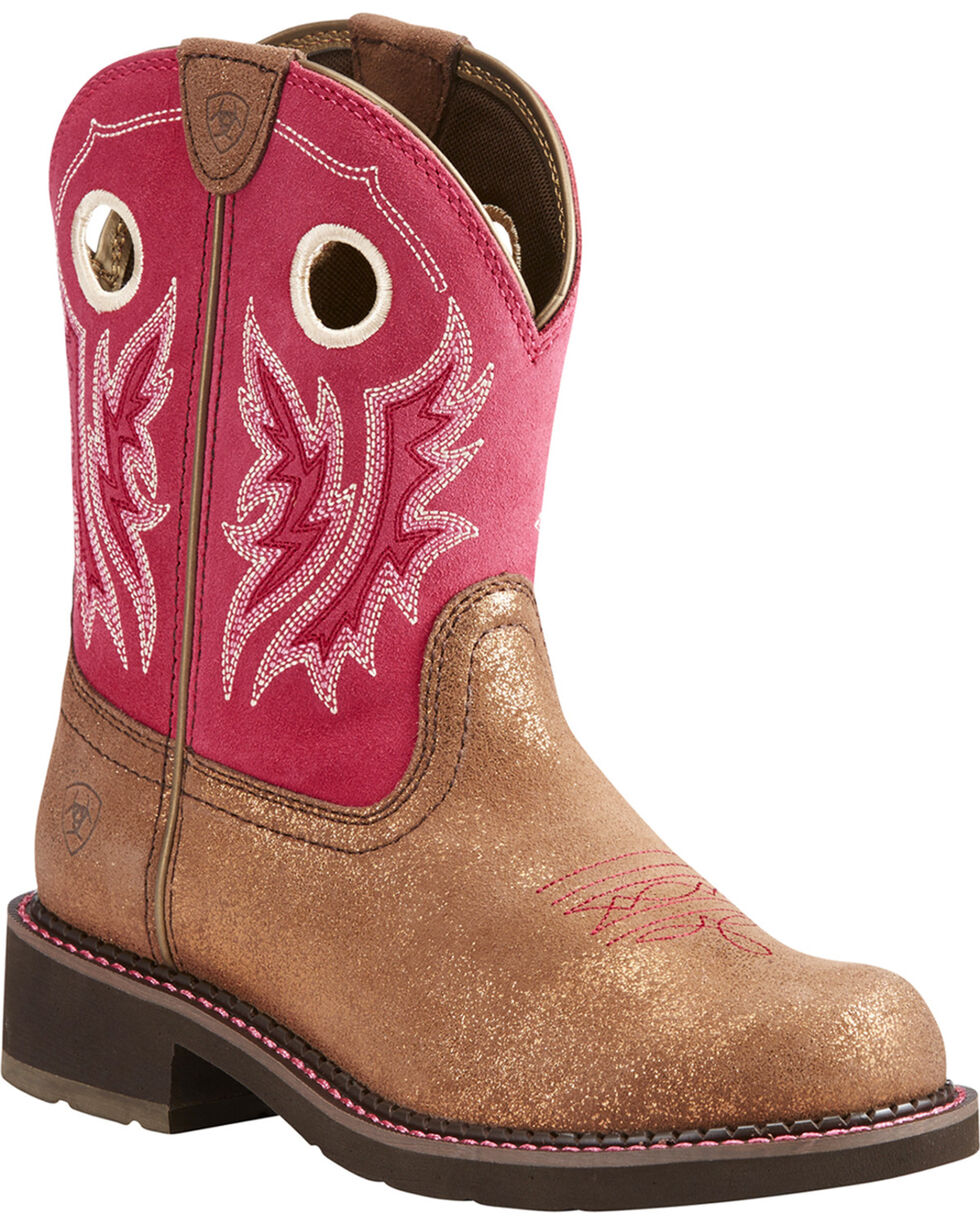 Ariat Women's Fatbaby Heritage Metallic Brown Hot Pink Cowgirl Boots - Round Toe, Bronze, hi-res