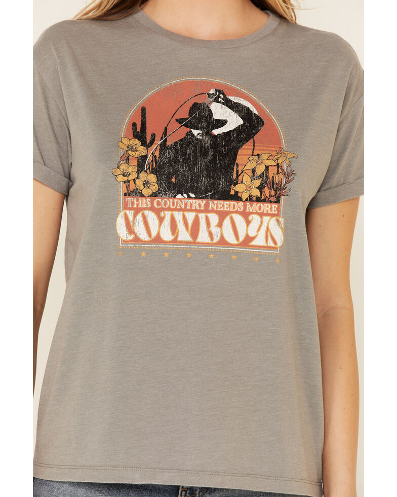 White Crow Women's This Country Needs More Cowboys Graphic Short Sleeve Tee , Charcoal, hi-res