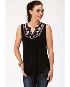Studio West Women's Embroidered Sleeveless Peasant Top, Black, hi-res