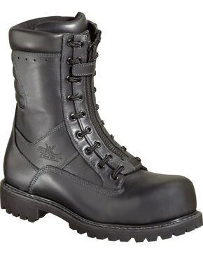 "Thorogood Men's 9"" HellFire EMS/Wildland Front-Zip Work Boots - Composite Toe, Black, hi-res"