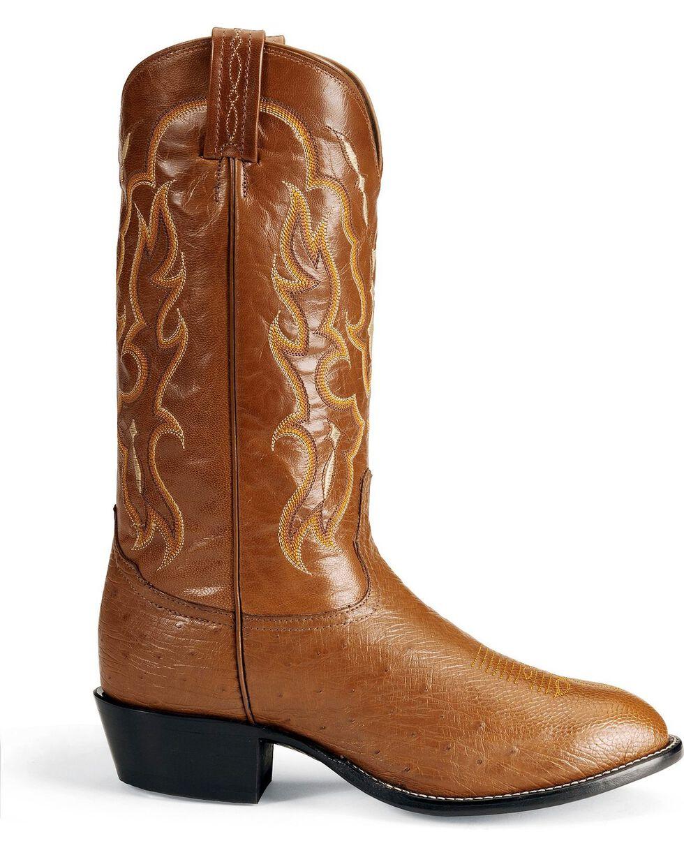 Tony Lama Men's Smooth Ostrich Exotic Boots, Peanut Brittle, hi-res