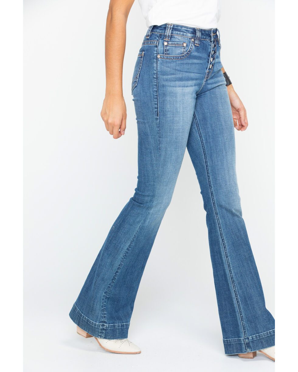 Rock & Roll Cowgirl Women's Basic Pocket High Rise Trouser , Blue, hi-res