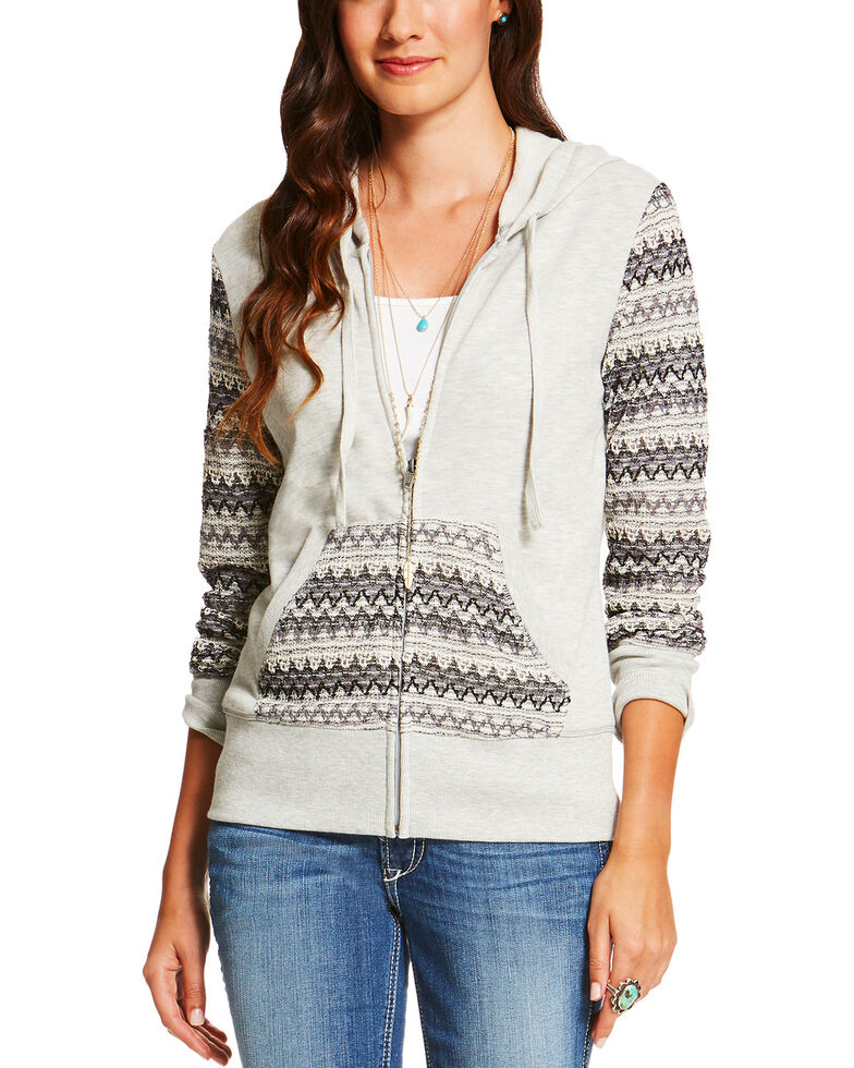 Ariat Women's Greyson Hoodie, Grey, hi-res