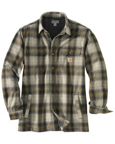 Carhartt Men's Hubbard Flannel Long Sleeve Work Shirt Jacket - Tall , Olive, hi-res