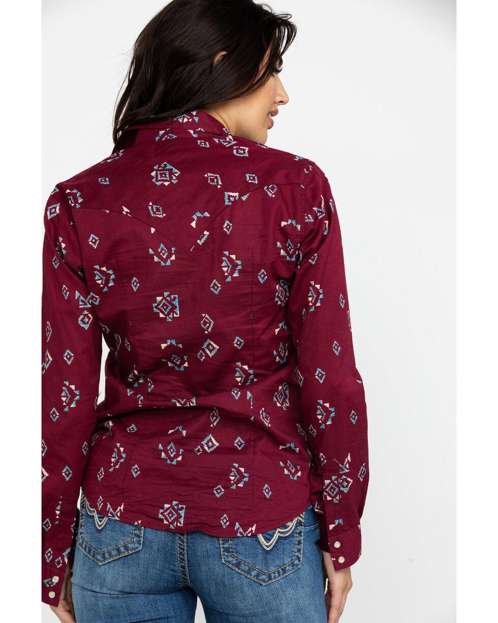 Wrangler Women's Aztec Print Long Sleeve Western Shirt , Burgundy, hi-res