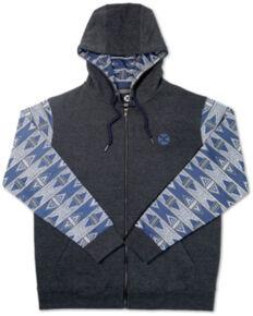 HOOey Boys' Aztec Sleeve Zip Front Hoodie , Grey, hi-res