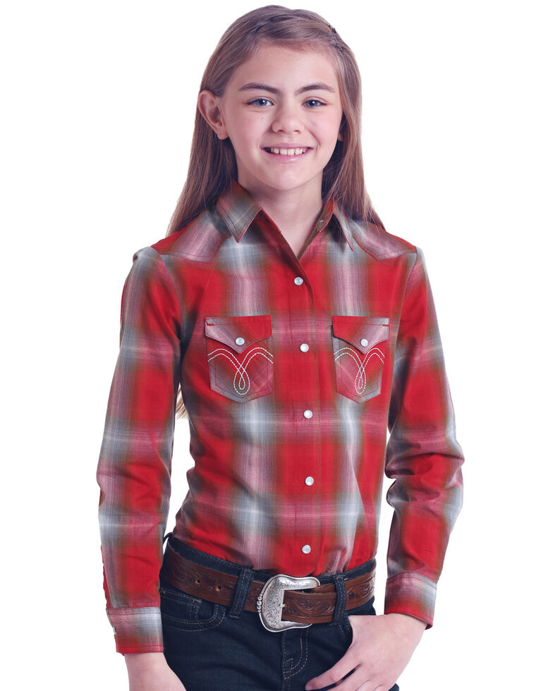 Panhandle Girls' White Label Red Plaid Long Sleeve Western Shirt , Red, hi-res