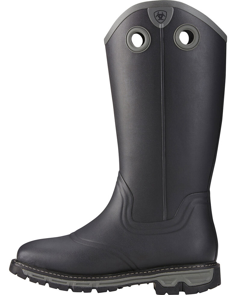 Ariat Men's Conquest Rubber Buckaroo Square Toe Hunting Boots, Black, hi-res