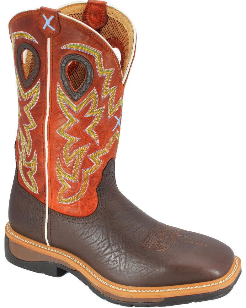 Twisted X Orange Lite Cowboy Work Boots - Soft Square Toe, , hi-res