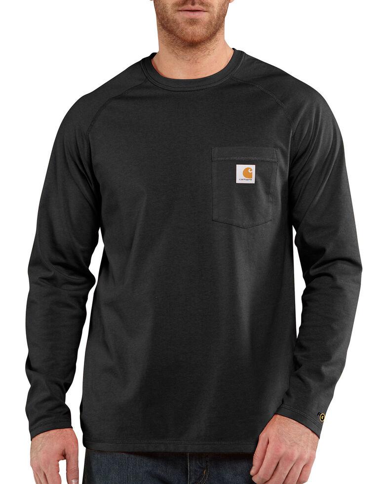 Carhartt Men's Solid Force Long Sleeve Work Shirt - Big & Tall, Black, hi-res