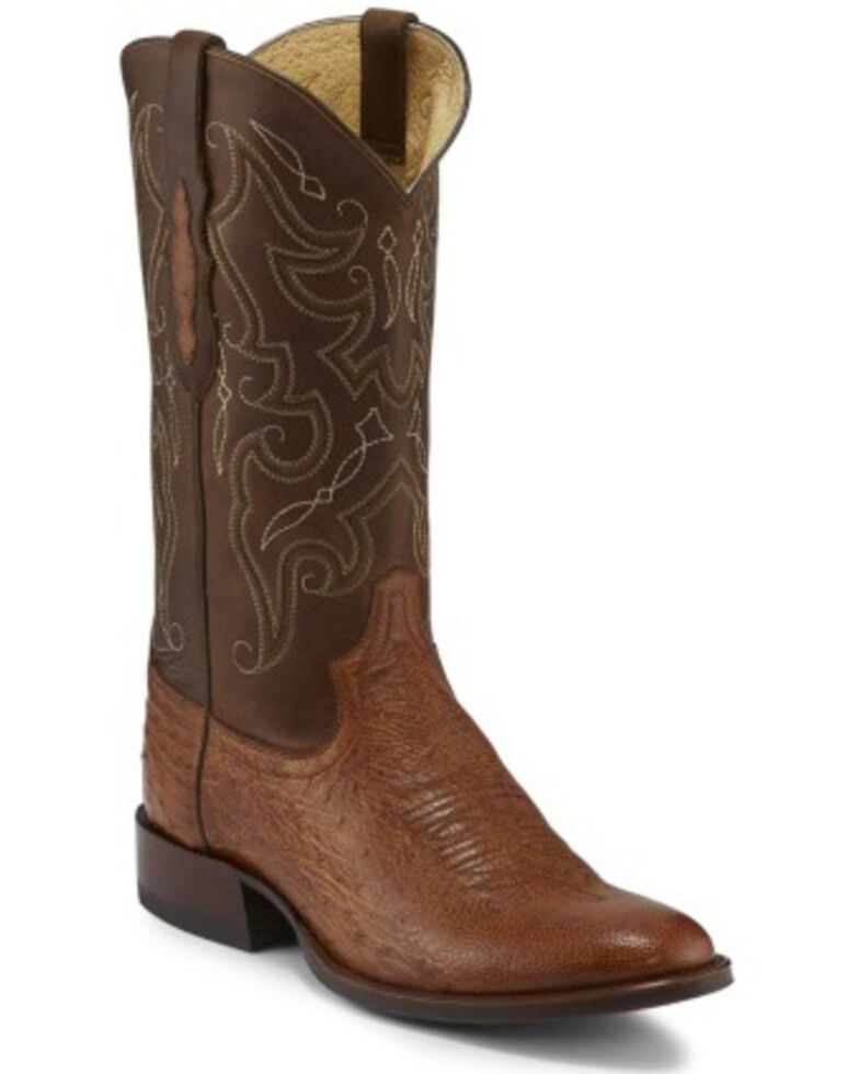 Tony Lama Men's Patron Saddle Western Boots - Round Toe, Cognac, hi-res