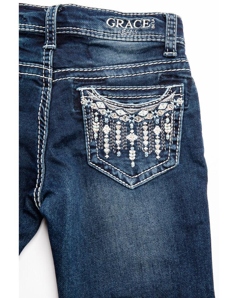 Grace in LA Toddler Girls' Border Aztec Bootcut Jeans, Blue, hi-res