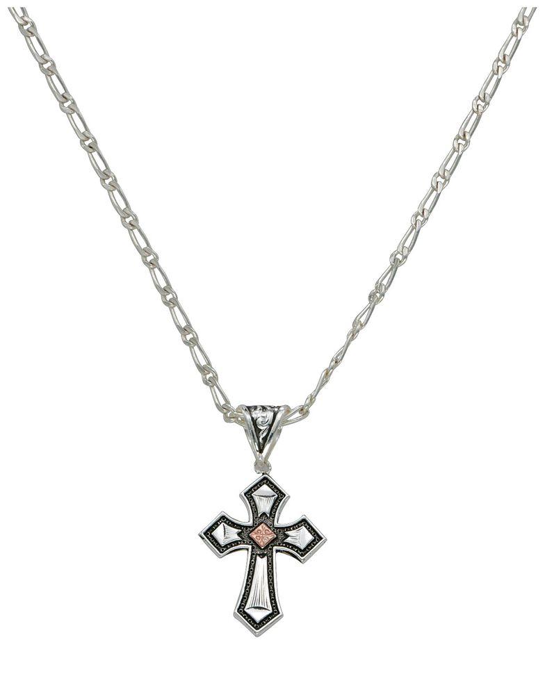 Montana Silversmiths Antique Silver Cross Necklace, Silver, hi-res
