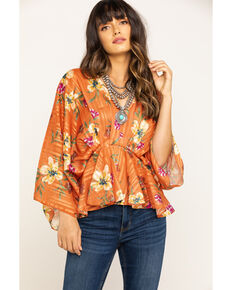 Flying Tomato Women's Floral Lurex Stripe Flutter Top, Peach, hi-res